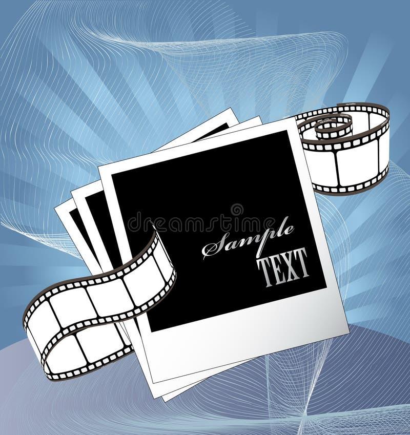 Gebogener fotographischer Film und Filmleerzeichen lizenzfreie abbildung