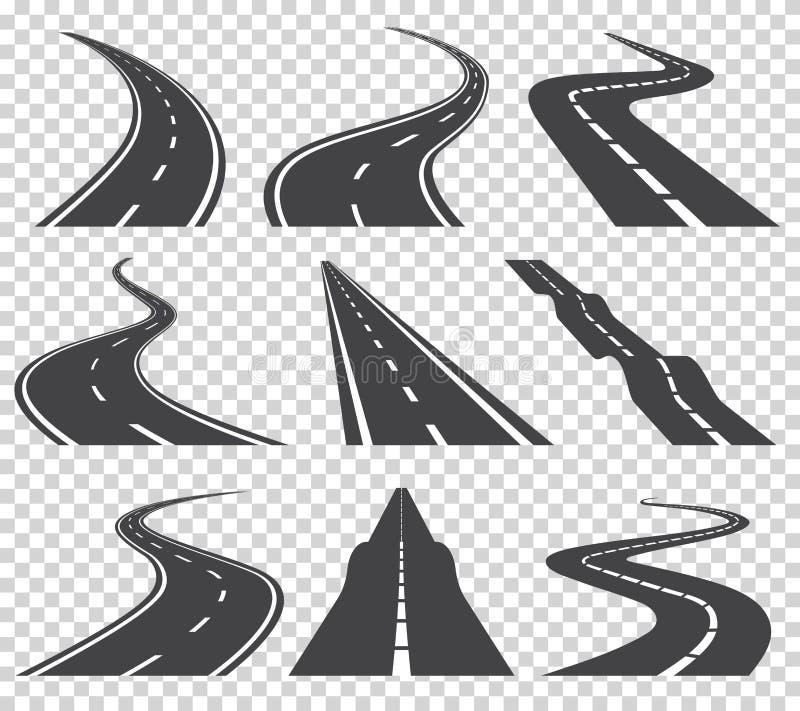 Gebogener Straßenvektorsatz Asphaltstraße oder Weise und Kurvenstraßenlandstraße Wickelnde gebogene Straße oder Landstraße mit Ma lizenzfreie abbildung
