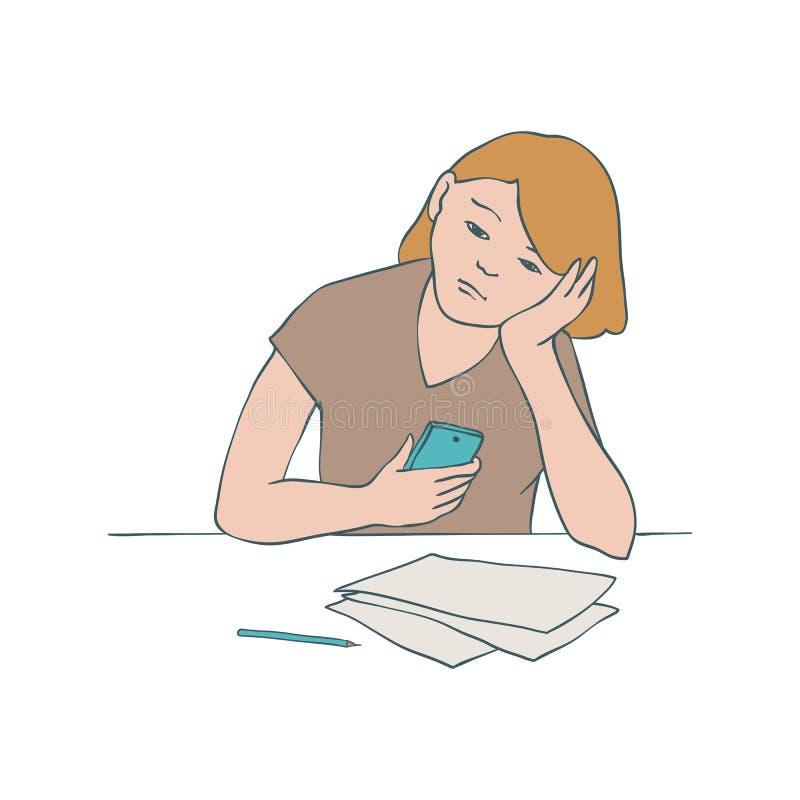 Gebohrte Mädchenvektorillustration der jungen uninteressierten Frau, die bei Tisch sitzt und ihren Kopf auf ihrem Arm lehnt lizenzfreie abbildung