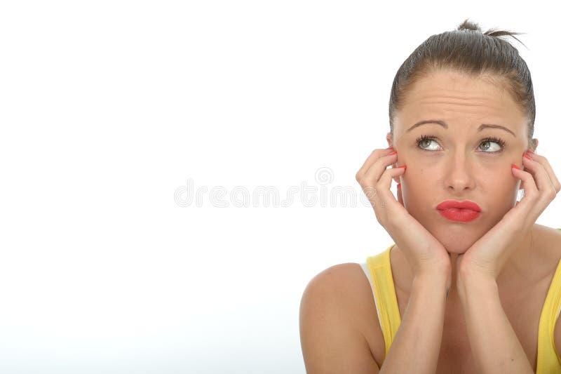 Gebohrtes junge Frauen-Porträt Fed Up Unmotivated Curious Attractives stockfotos