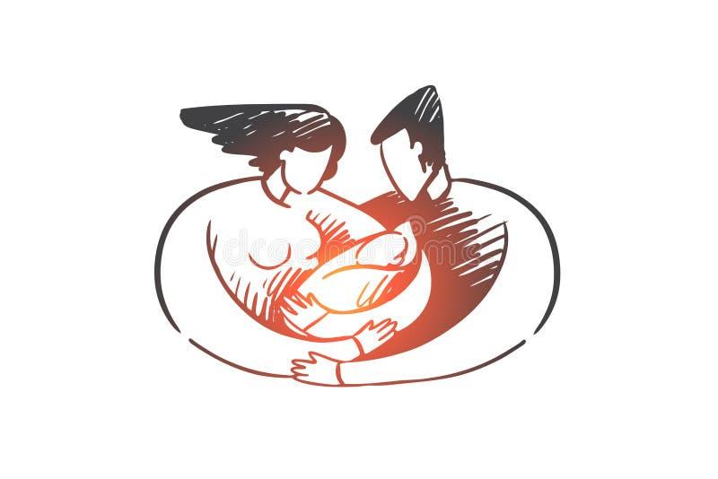 Geboorte, mamma, papa, kind, lactatie, familieconcept Hand getrokken geïsoleerde vector stock illustratie