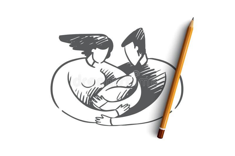 Geboorte, mamma, papa, kind, lactatie, familieconcept Hand getrokken geïsoleerde vector royalty-vrije illustratie