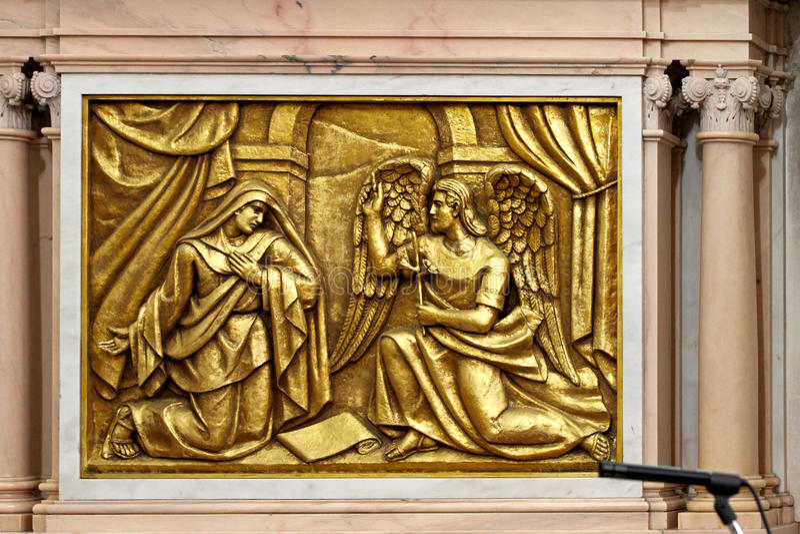 Geboorte van Christus, de Engel van de Aankondiging stock fotografie