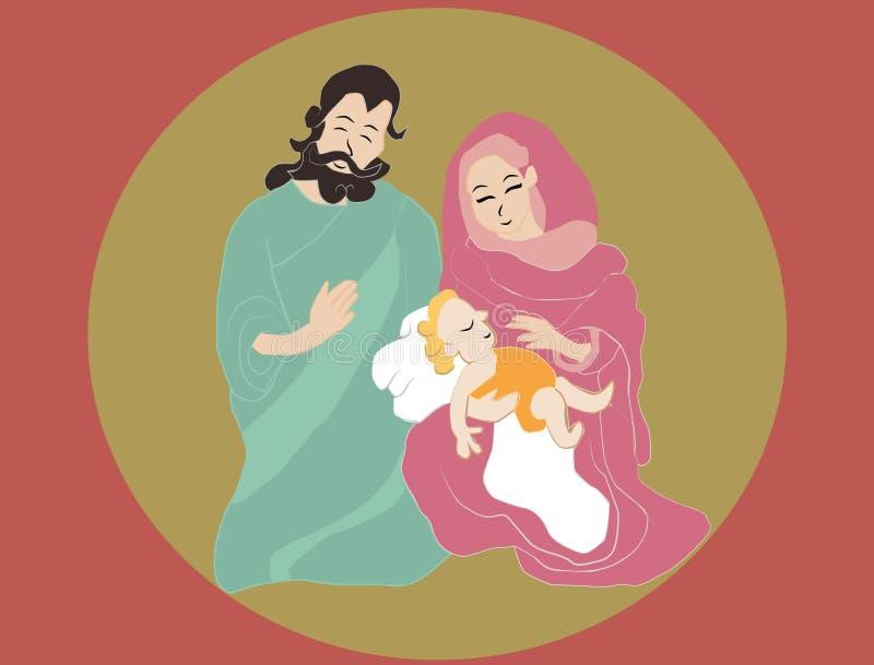 Geboorte van Christus heilige scène stock afbeeldingen