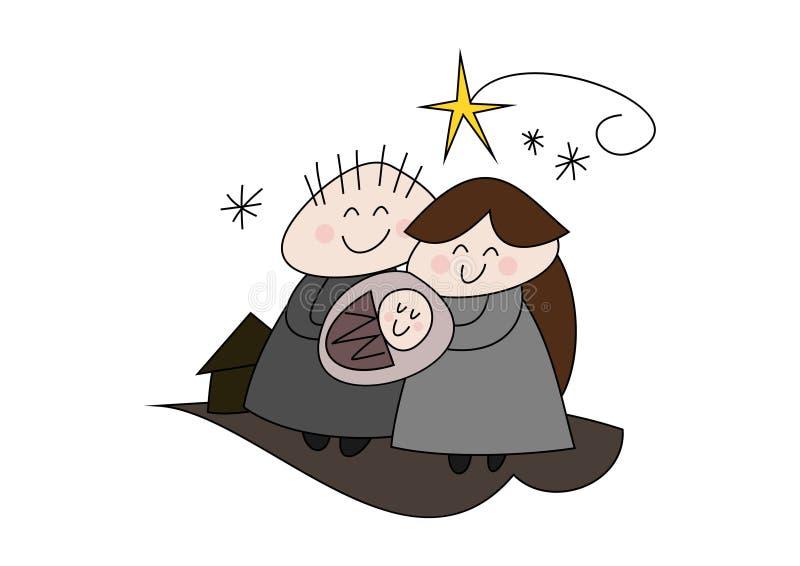 Geboorte van Christus - Kerstmisverhaal - Geboorte van Jesus royalty-vrije illustratie