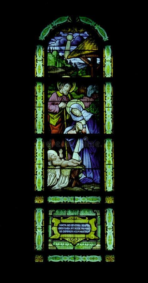 Geboorte van Christus Stainglass stock fotografie