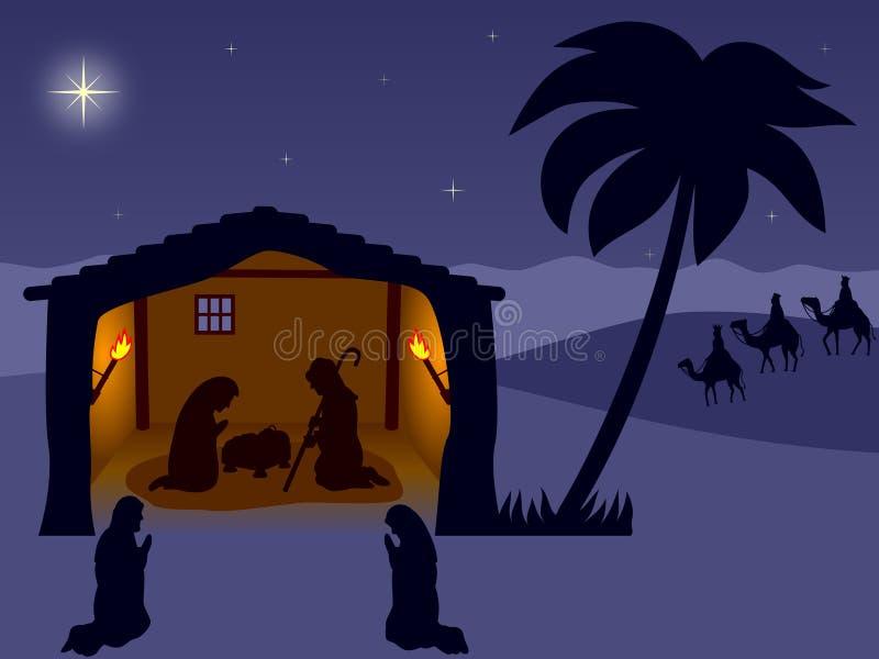 Geboorte van Christus. Wisemen vector illustratie