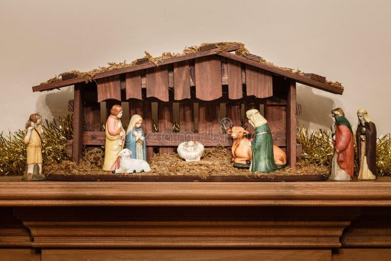 Geboorte van Christusscène stock afbeelding