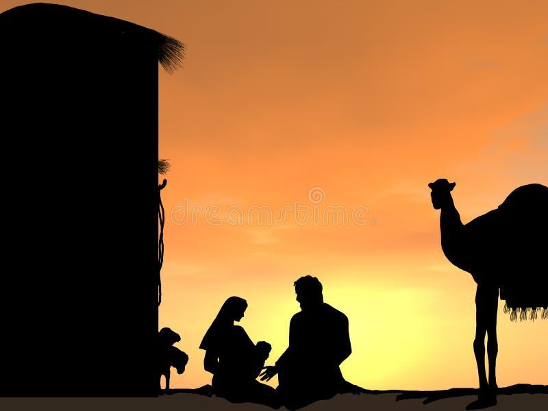 Geboorte van Christusscène bij Zonsondergang met Jesus royalty-vrije stock foto's