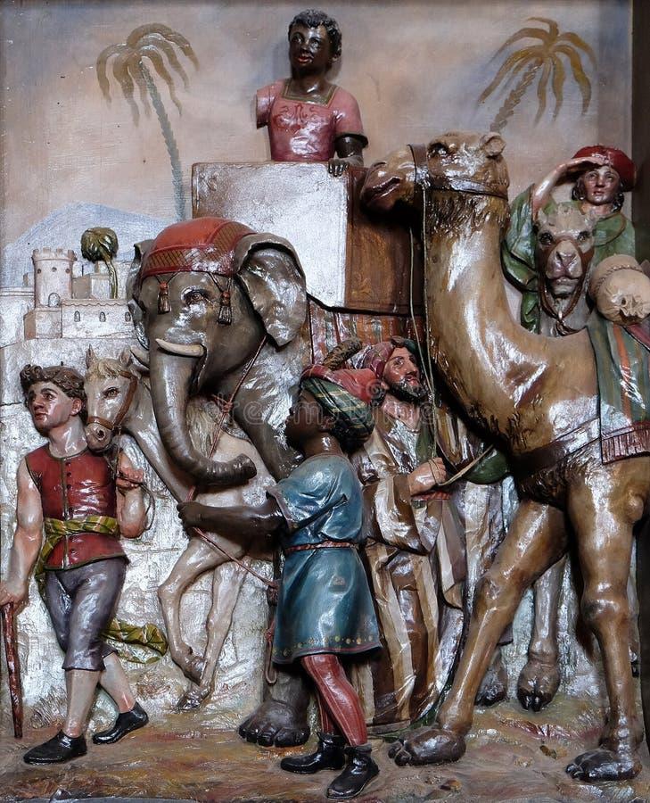 Geboorte van Christusscène, de komst van de Koningen stock fotografie