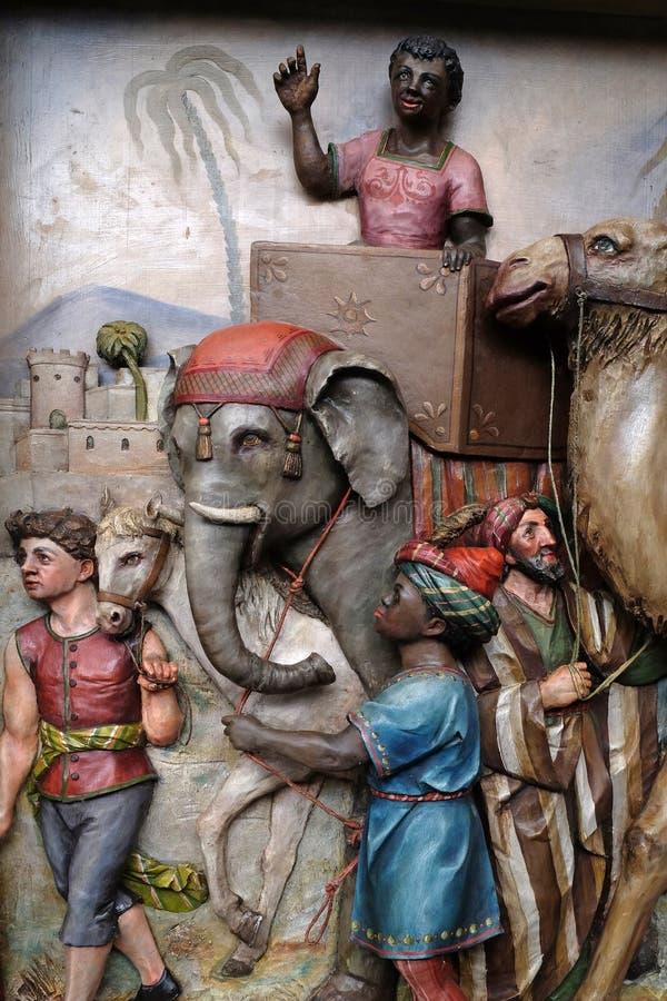 Geboorte van Christusscène, de komst van de Koningen royalty-vrije stock foto