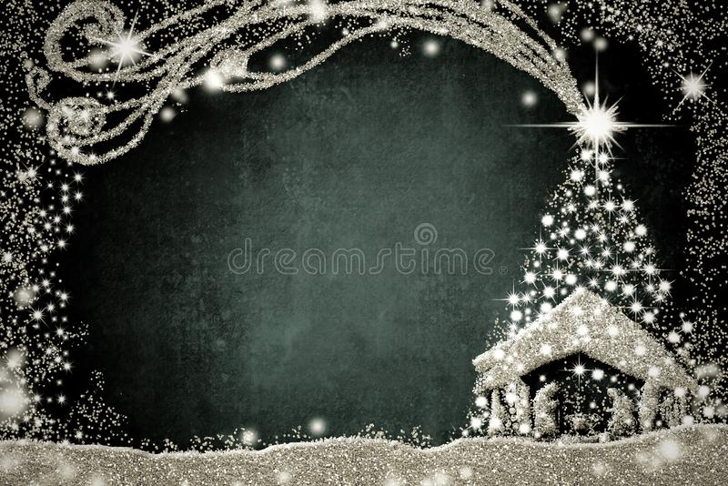 Geboorte van Christusscène en Kerstboomkaart royalty-vrije illustratie