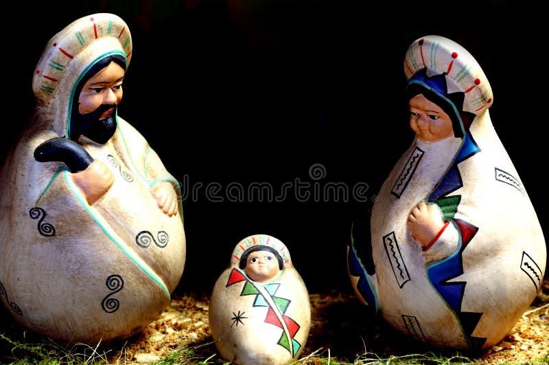 Geboorte van Christusscène met de heilige familie in Latijns-Amerikaanse stijl stock afbeelding