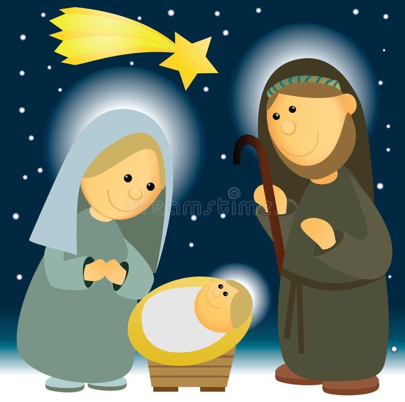 Geboorte van Christusscène met heilige familie stock illustratie