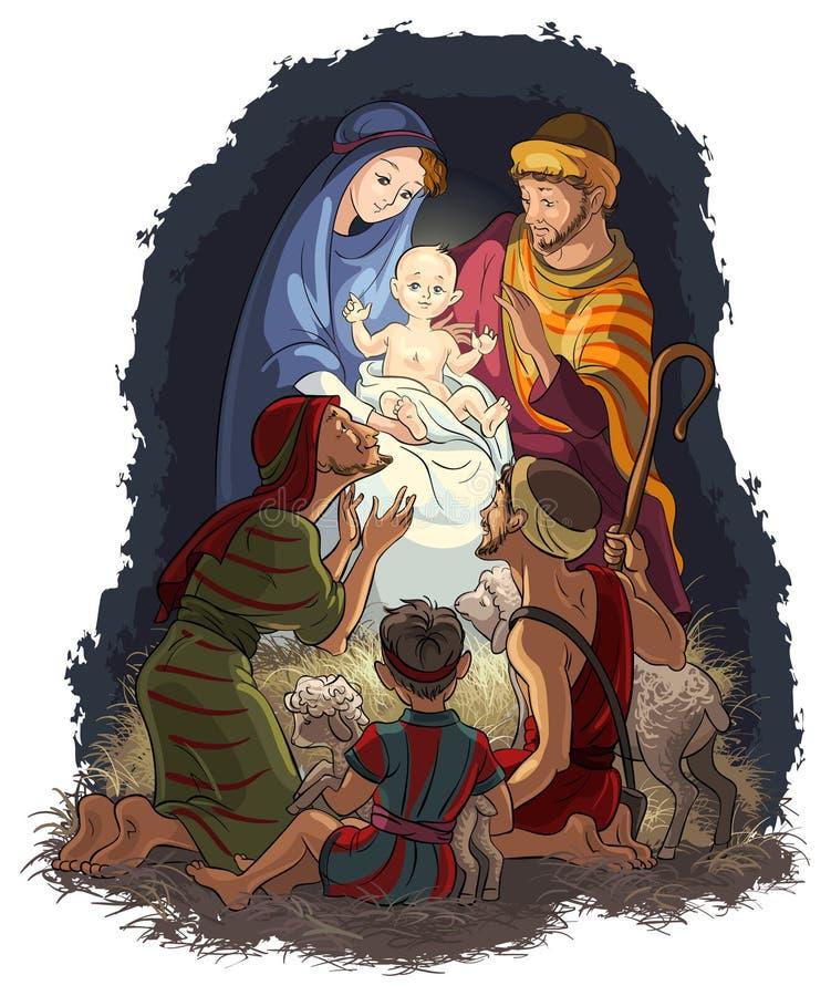 Geboorte van Christusscène met Jesus, Mary, Joseph en shephe royalty-vrije illustratie