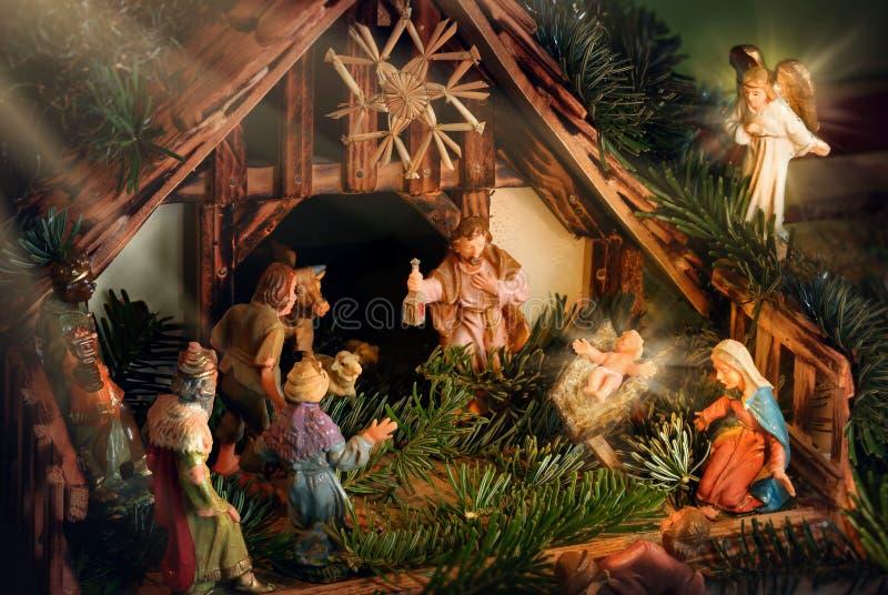 Geboorte van Christusscène met stralen van licht wordt verbeterd dat royalty-vrije stock afbeelding