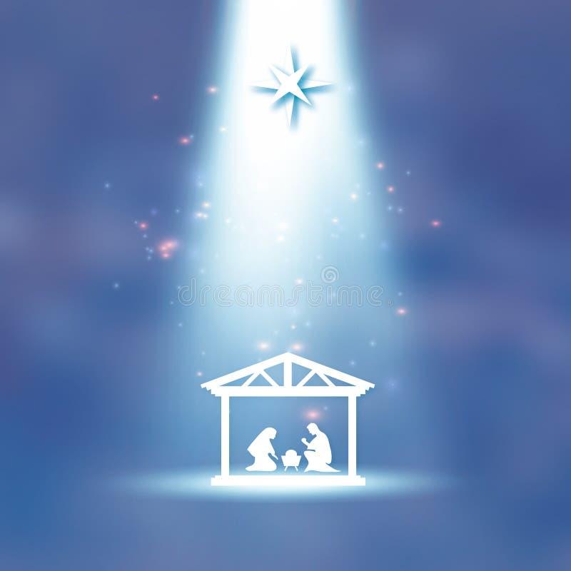 Geboorte van de Baby Jesus van Christus in de trog Heilige familie magi S Kerstster - de komeet van het oosten Geboorte van Chris stock illustratie