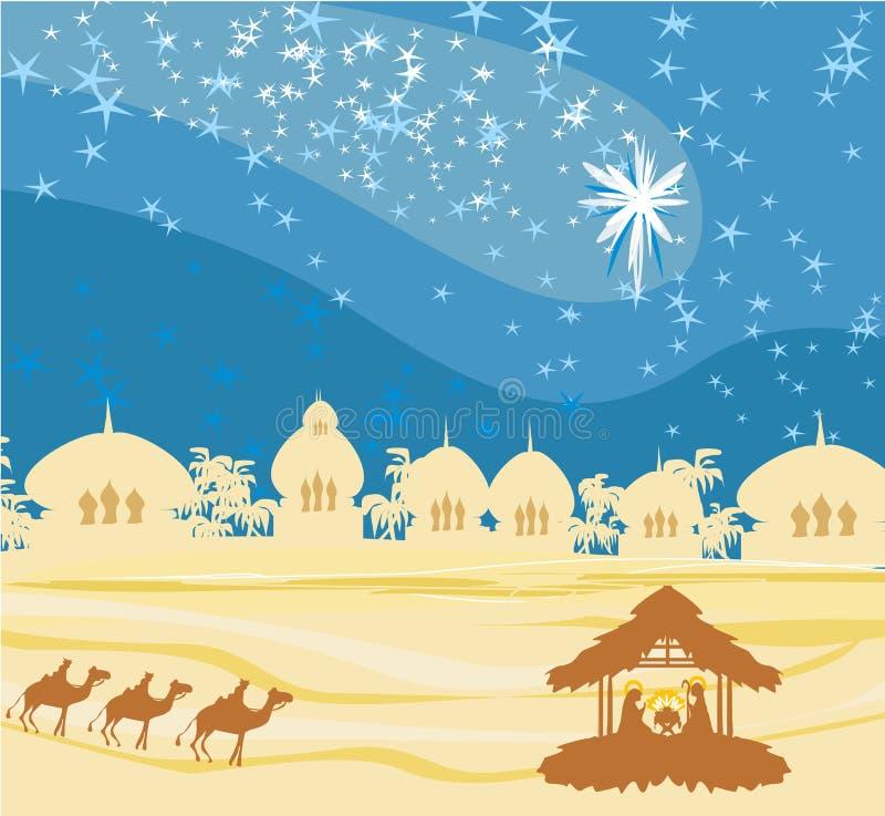 geboorte van Jesus in Bethlehem. stock illustratie