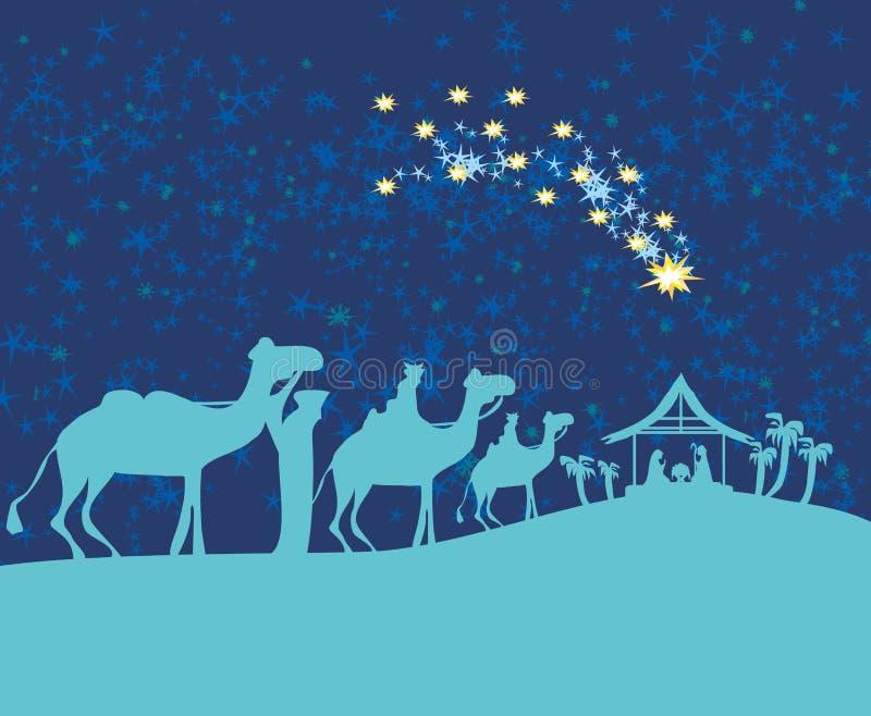 Geboorte van Jesus in Bethlehem vector illustratie