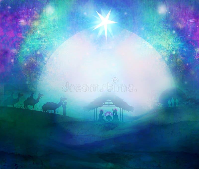 Geboorte van Jesus in Bethlehem royalty-vrije illustratie