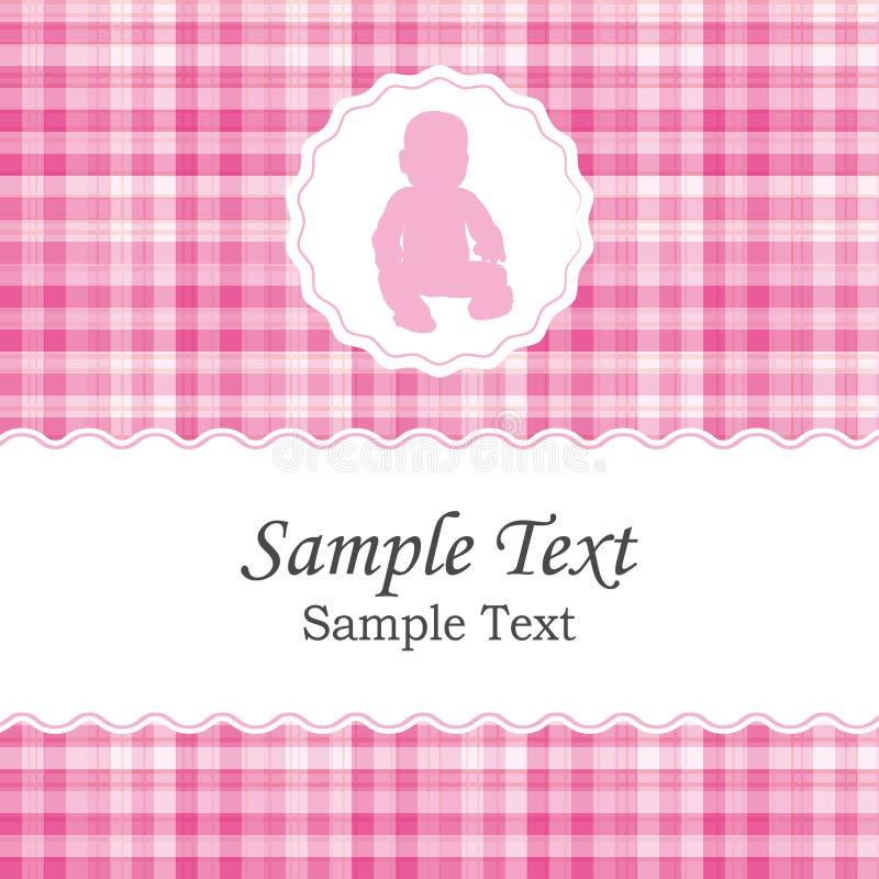 Geboorteaankondiging of de uitnodigingskaart van de babydouche voor een pasgeboren meisje stock illustratie