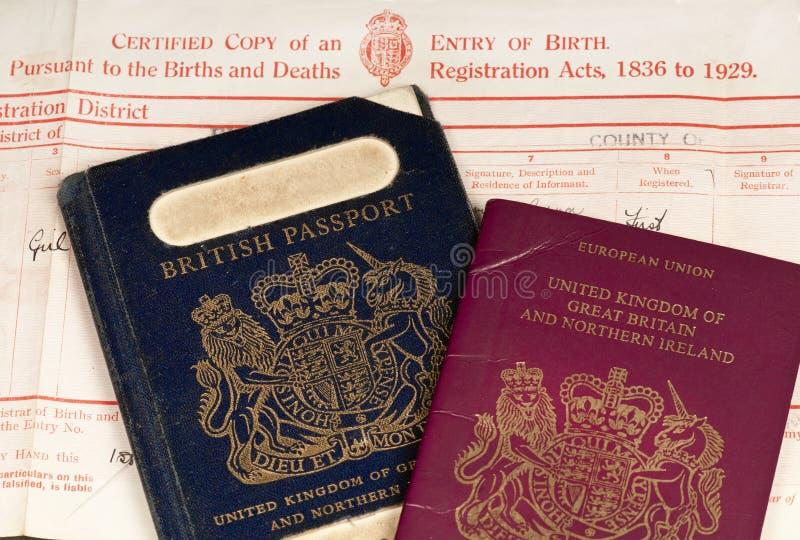 Geboorteakte en britse paspoorten stock fotografie afbeelding 29604772 - Geloofsbrieven ontwerp ...