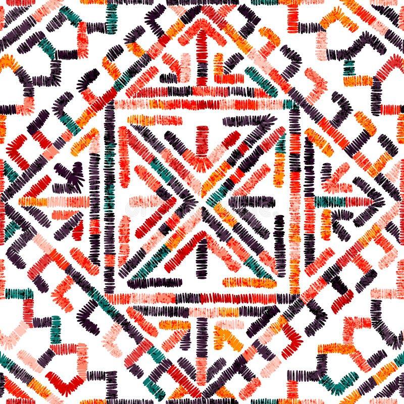 Geborduurd naadloos geometrisch patroon Ornament voor het tapijt Etnische en stammenmotieven Kleurrijke druk van met de hand gema royalty-vrije illustratie