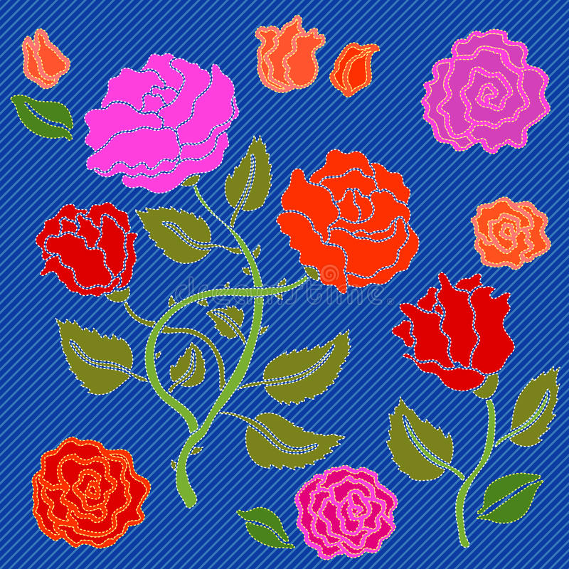 Geborduurde bloemen voor denimontwerp stock illustratie