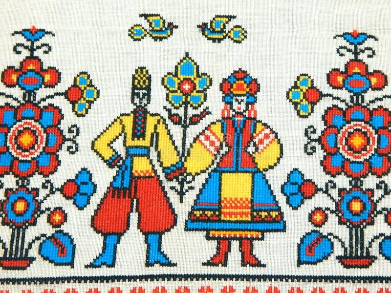 Geborduurde handdoek Het creatieve werk van onze voorvaderen stock afbeeldingen