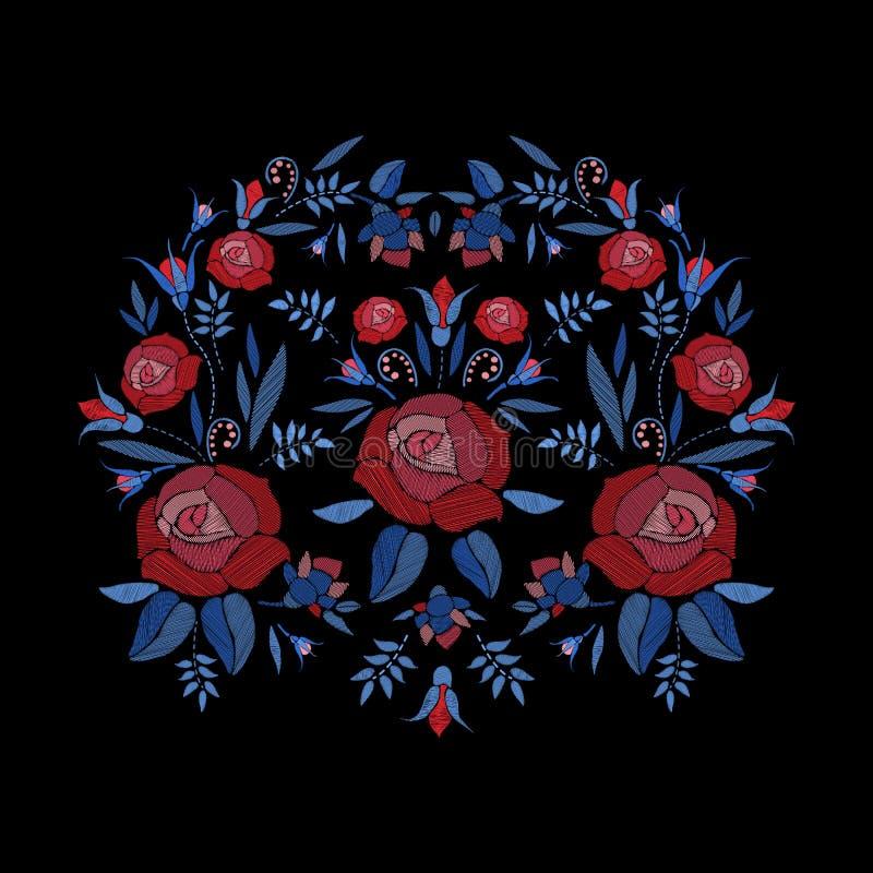 Geborduurde samenstelling van rozenbloemen, knoppen en bladeren Het borduurwerk bloemenontwerp van de satijnsteek op zwarte achte royalty-vrije illustratie