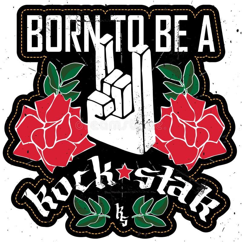 Geboren een RockStar te zijn - schommel festivalaffiche met Rotshand 3d s stock illustratie