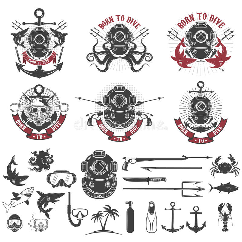 Geboren te duiken Reeks uitstekende duikerhelmen, het malplaatje van het duikeretiket royalty-vrije illustratie