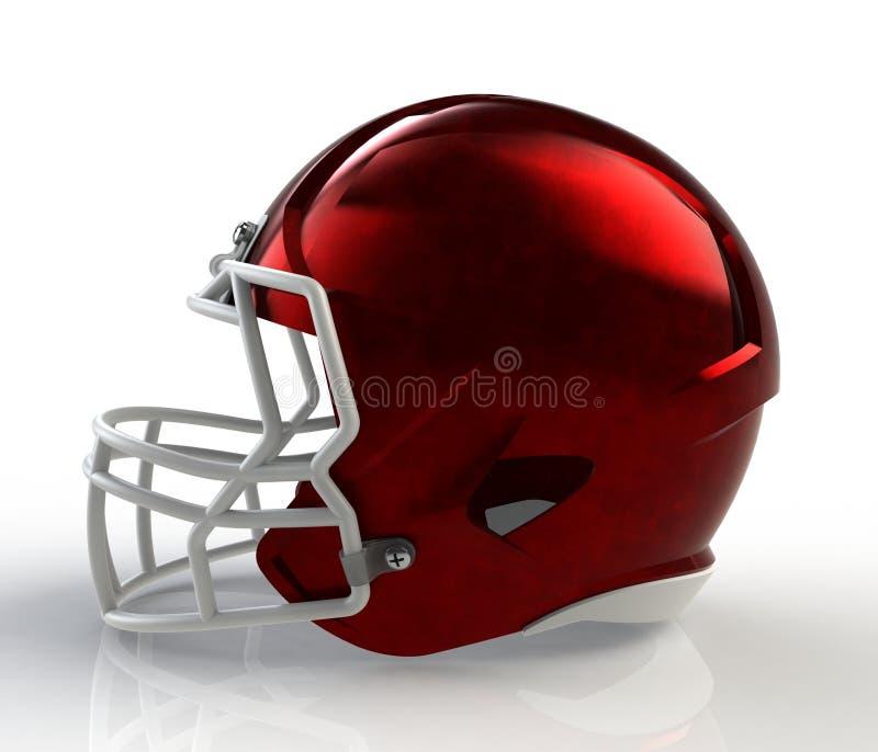 Geborstelde het rood galvaniseerde het Amerikaanse zijaanzicht van de voetbalhelm over een witte achtergrond met gedetailleerde h vector illustratie