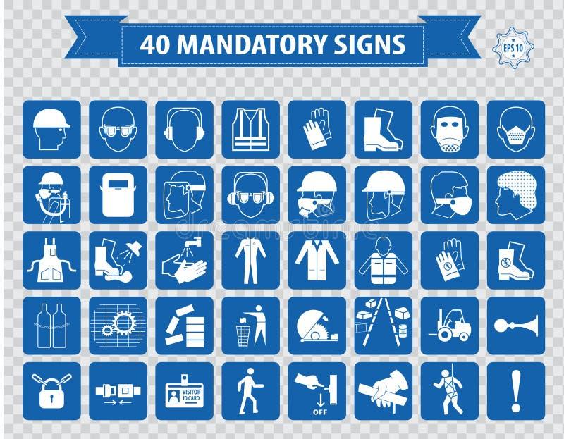 Gebotszeichen, Baugesundheit, Sicherheitszeichen benutzt in den industriellen Anwendungen lizenzfreie abbildung