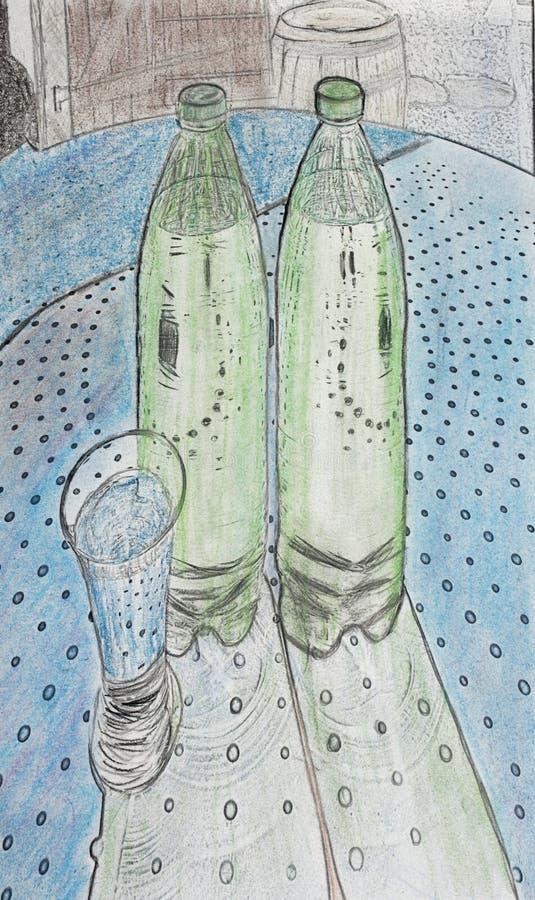Gebotteld drank en glas stock illustratie
