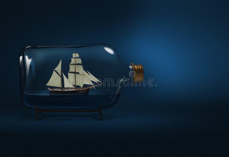 Gebotteld schip vector illustratie