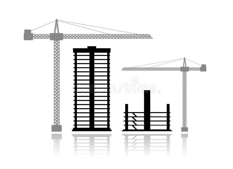 Gebouwen in aanbouw royalty-vrije illustratie