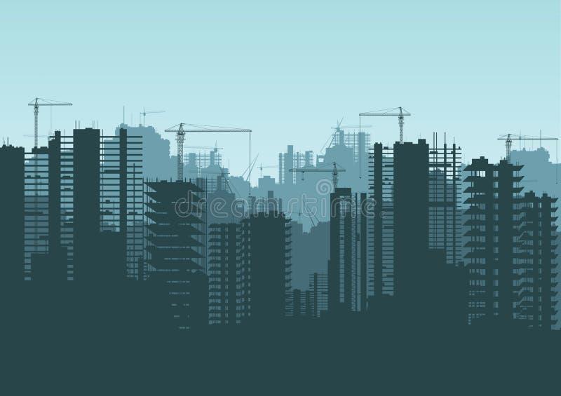 Gebouwen in aanbouw en de bouwkranen stock illustratie