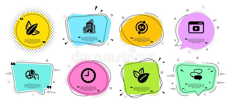 Gebouwen, Besprekingsbel en de pictogrammen geplaatste van de Geldmunt Biologisch product, Videoinhoud en cirkeldiagramtekens Vec royalty-vrije illustratie
