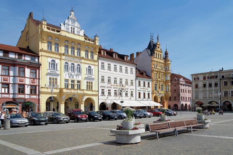 Gebouwen in Ceske Budejovice, Tsjechische Republiek royalty-vrije stock foto's