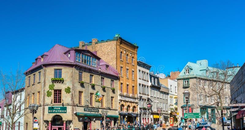 Gebouwen in de oude stad van de Stad van Quebec stock foto