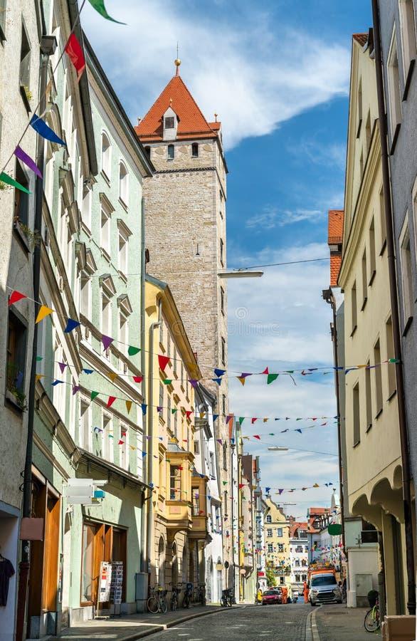 Gebouwen in de Oude Stad van Regensburg, Duitsland royalty-vrije stock fotografie