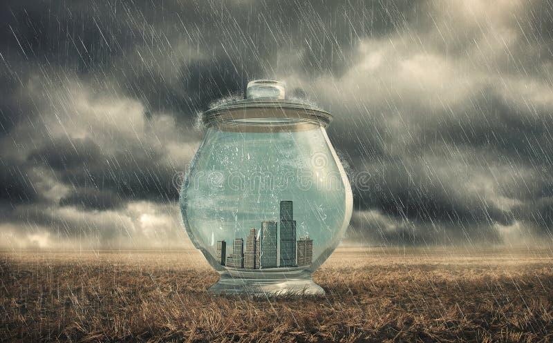 Gebouwen in een glaskruik stock afbeeldingen