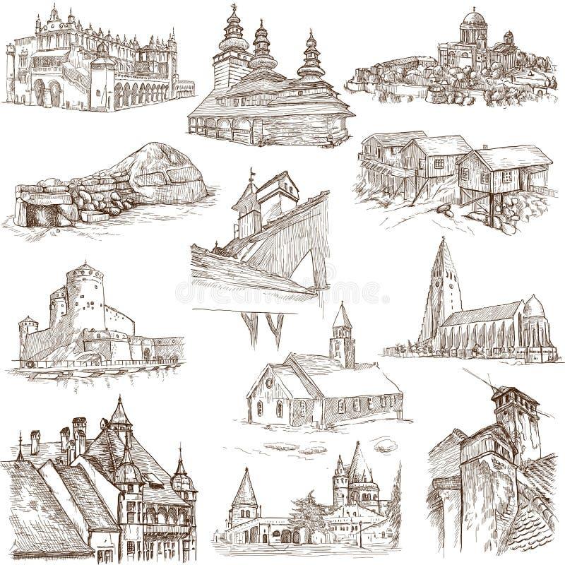 Gebouwen en architectuur stock illustratie