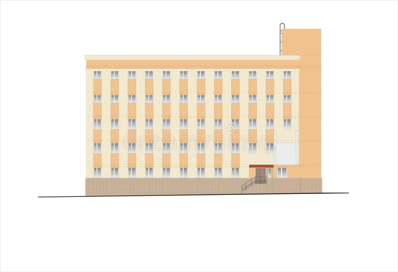 Gebouwen en structuren van de vroege en medio 20ste eeuw Tekeningen van huizen van klassieke architectuur van het eind van 18-19- stock illustratie