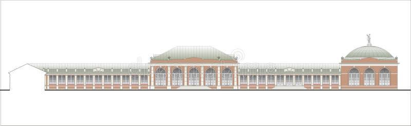 Gebouwen en structuren van de vroege en medio 20ste eeuw Tekeningen van huizen van klassieke architectuur van het eind van 18-19- vector illustratie