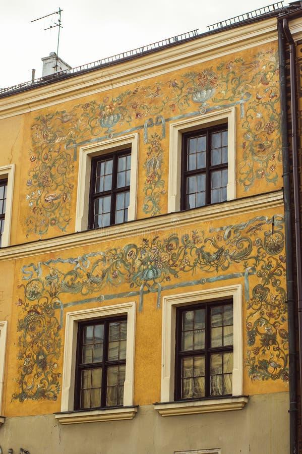 Gebouwen in het oude centrum van Lublin, Polen royalty-vrije stock afbeeldingen
