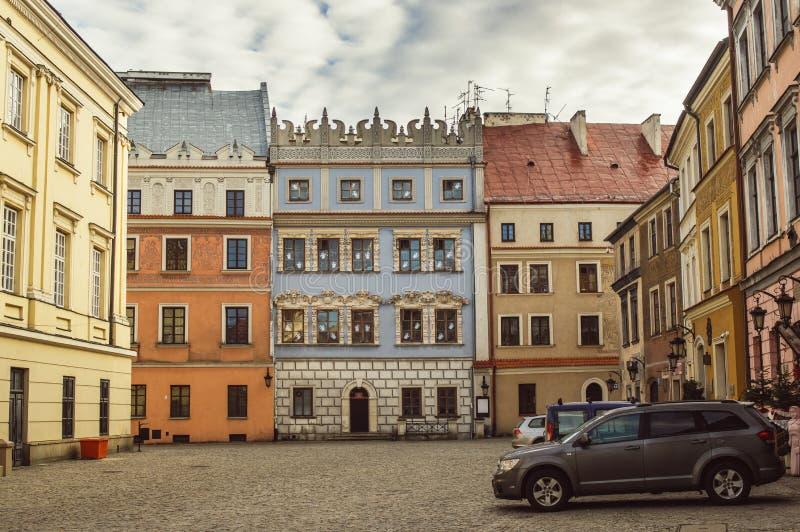 Gebouwen in het oude centrum van Lublin, Polen stock afbeeldingen