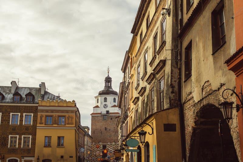 Gebouwen in het oude centrum van Lublin, Polen stock fotografie