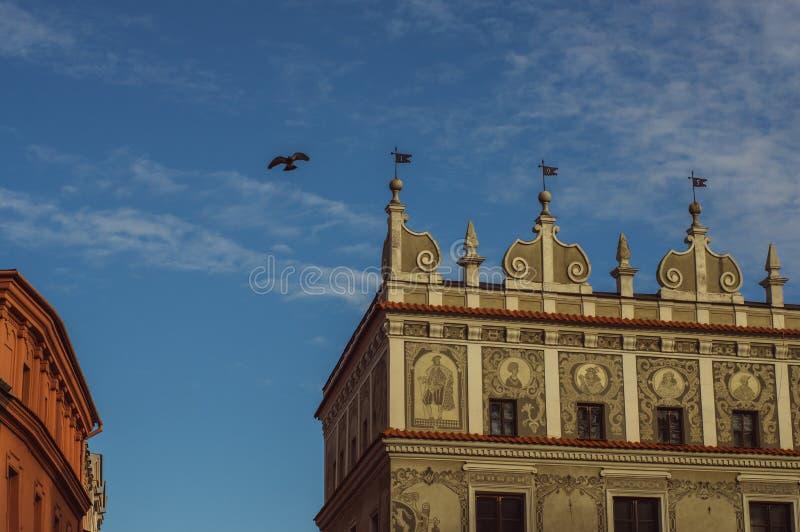 Gebouwen in het oude centrum van Lublin, Polen stock afbeelding
